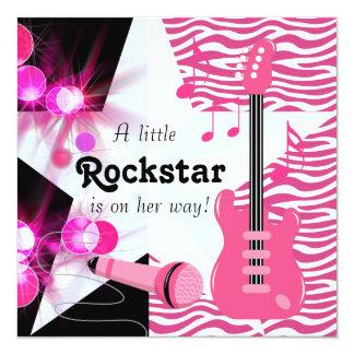 Dusch för shock rosasebraRockstar flicka Fyrkantigt 13,3 Cm Inbjudningskort