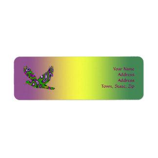 Duva för magenta för grönt för FractalMazegult Returadress Etikett