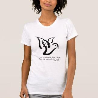Duva med gren- och Psalm55:6citationstecknet Tee Shirt