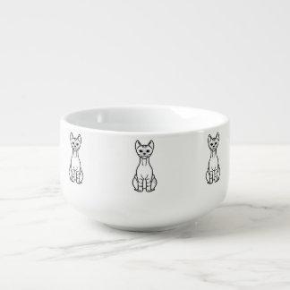 Dwelf katttecknad stor kopp för soppa