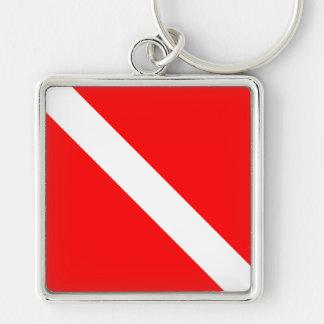 Dykare besegrar klassikerflagga fyrkantig silverfärgad nyckelring