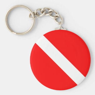 Dykare besegrar klassikerflaggaSCUBAEN Rund Nyckelring