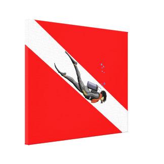 Dykare- och dykflagga canvastryck