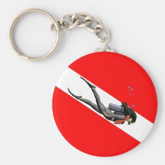 Dykare- och dykflagga rund nyckelring