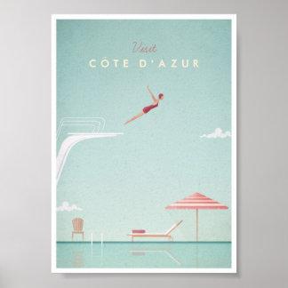 Dykning för Côte d'Azurvintage reser affischen Poster