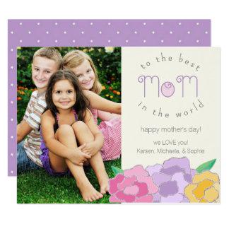 Dyrbart blom- lyckligt mors dagfotokort 10,8 x 14 cm inbjudningskort