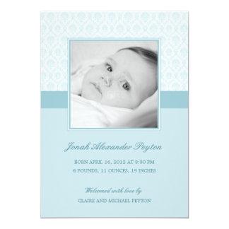 Dyrbart damastast pojkefödelsemeddelande 12,7 x 17,8 cm inbjudningskort