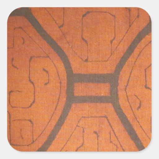 Dyrbart tyg fyrkantigt klistermärke