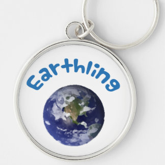 Earthling Rund Silverfärgad Nyckelring