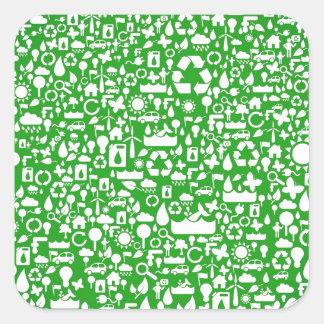 Eco gröntspara världen fyrkantigt klistermärke