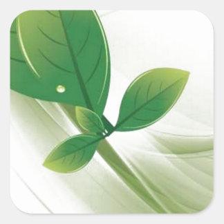 eco-löv-vektor fyrkantigt klistermärke