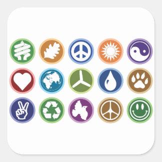 Eco symboler fyrkantigt klistermärke