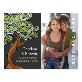 Eco trädbröllop spara datum vykort