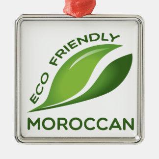 Eco vänlig Moroccan. Silverfärgad Fyrkantigt Julgransprydnad