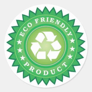 eco-vänskapsmatch-produkt klistermärkear runt klistermärke