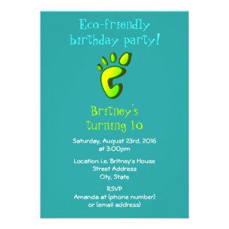Eco vänskapsmatchfödelsedagsfest 12,7 x 17,8 cm inbjudningskort