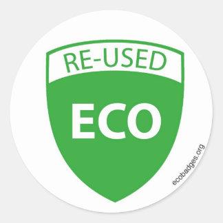 EcoBadge: Reused2 Runt Klistermärke