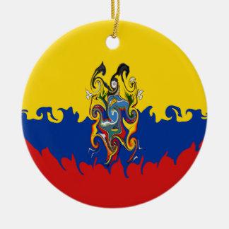 Ecuador Gnarly flagga Rund Julgransprydnad I Keramik