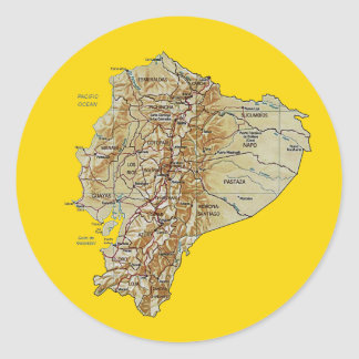 Ecuador kartaklistermärke runt klistermärke
