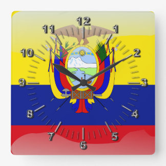Ecuadoriansk glansig flagga fyrkantig klocka
