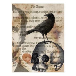 Edgar Allan Poe den korpsvarta skallen och fågeln Vykort
