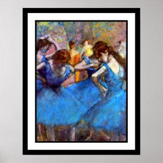 Edgar Degas - dansare i blått - balettdansälskare Poster