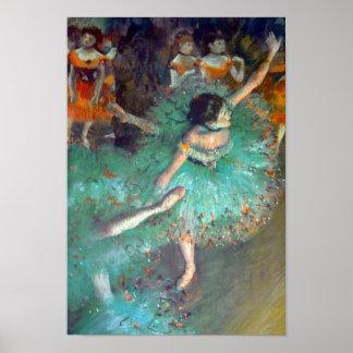 Edgar Degas - de gröna dansarna - balettdans Poster