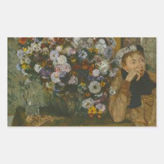 Edgar Degas - en kvinna som placeras bredvid en Rektangulärt Klistermärke