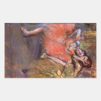 Edgar Degas - två dansare bak platserna Rektangelformade Klistermärken