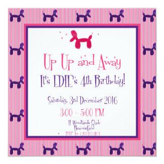 Edies 4e födelsedagen fyrkantigt 13,3 cm inbjudningskort