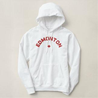 Edmonton Hoodie - röd Kanada lönnlöv Broderad Luvtröja