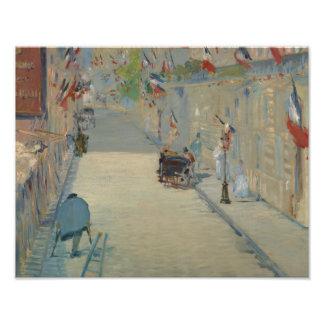 Edouard Manet - ruen Mosnier med flaggor Fototryck