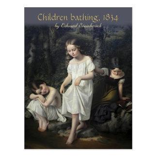 Eduard Steinbrück barn som badar vykortet CC0561 Vykort