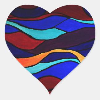 Efter glöd hjärtformat klistermärke