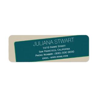 efternamnadress, blått & taupe returadress etikett
