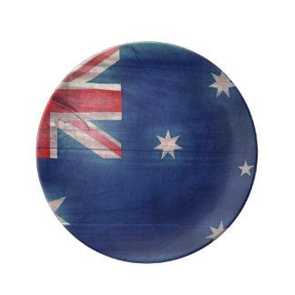 Efterrätten för den Australien Woodgrainflagga Porslinstallrik