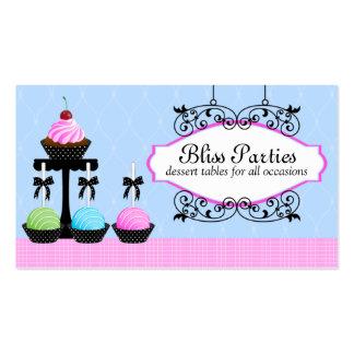 Efterrätten för tårtapopmuffinen bordlägger visitk set av standard visitkort