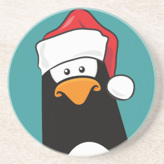 Eftertänksam pingvin för tecknad i den Santa Underlägg Sandsten