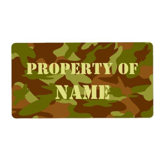 Egendom av den kända etiketten - olivgröna fraktsedel