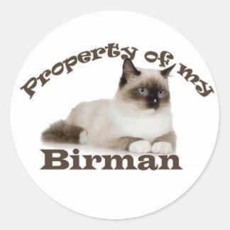 Egendom av min Birman Runt Klistermärke