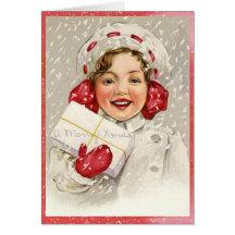 Egentligen gullig vintagegod julflicka kort