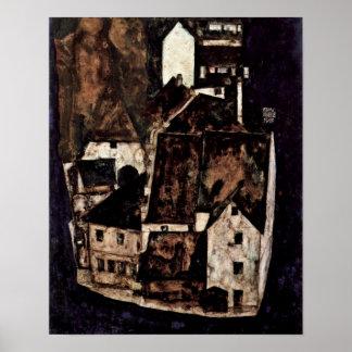 Egon Schiele - död stad på blåttfloden Poster