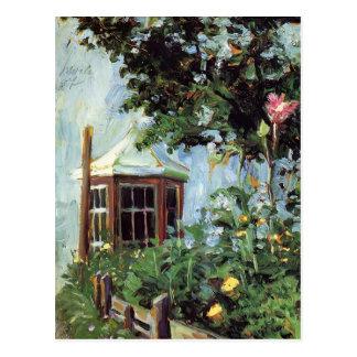 Egon Schiele-Hus med ett fjärdfönster i trädgården Vykort