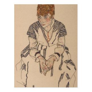 Egon Schiele- konstnärs syster i lag Vykort