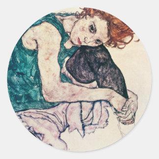 Egon Schiele placerade kvinnaklistermärkear Runt Klistermärke