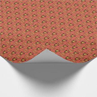 Egyptisk fisk, krokodil på rött slående in papper presentpapper