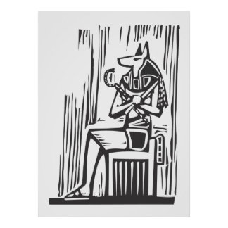 Egyptiska sittande Anubis Affisch