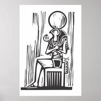 Egyptiska sittande Osiris Affisch