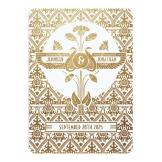 Egyptiskt guld & vit för Nouveau 12,7 X 17,8 Cm Inbjudningskort
