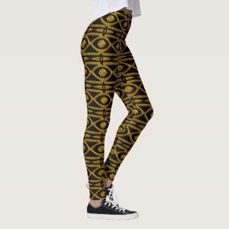 Egyptiskt mönster i svart och guld leggings